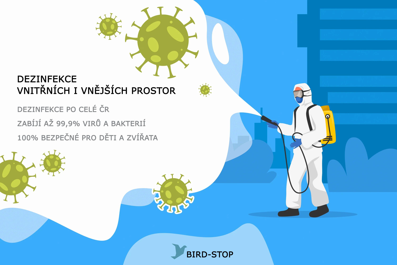 BIRD-STOP kompletní dezinfekce vnitřních i vnějších prostor